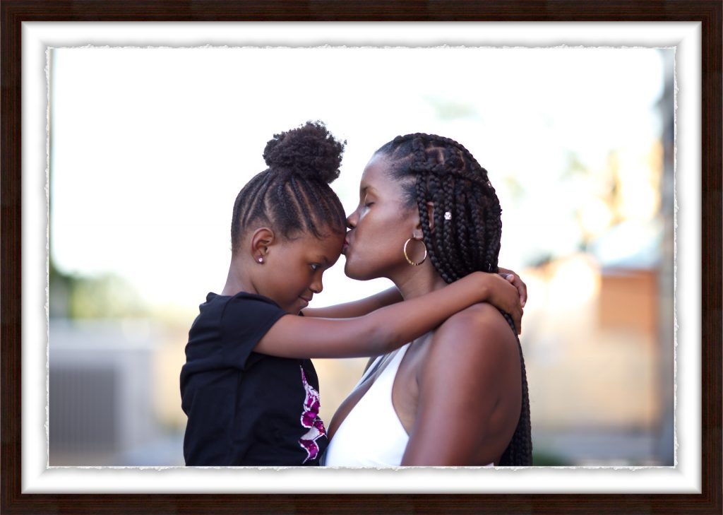 A framed portrait of a mother and daughter in Scottsdale Arizona