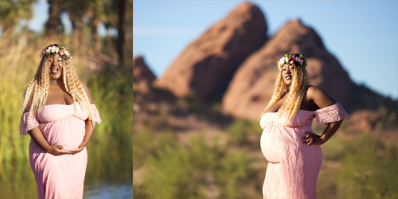 Scottsdale Phoenix Maternity Photographer - Maternity portrait of Michelle taken at Papago Park, Phoenix AZ.