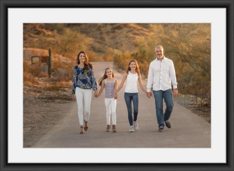 Large framed portrait of family of four taken in Dreamy Draw Park in Phoenix Arizona, Adaeze Opara Photography
