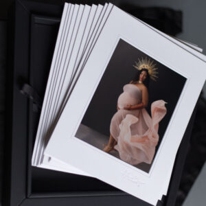 print collection of black mom's studio maternity and glamour photoshoot