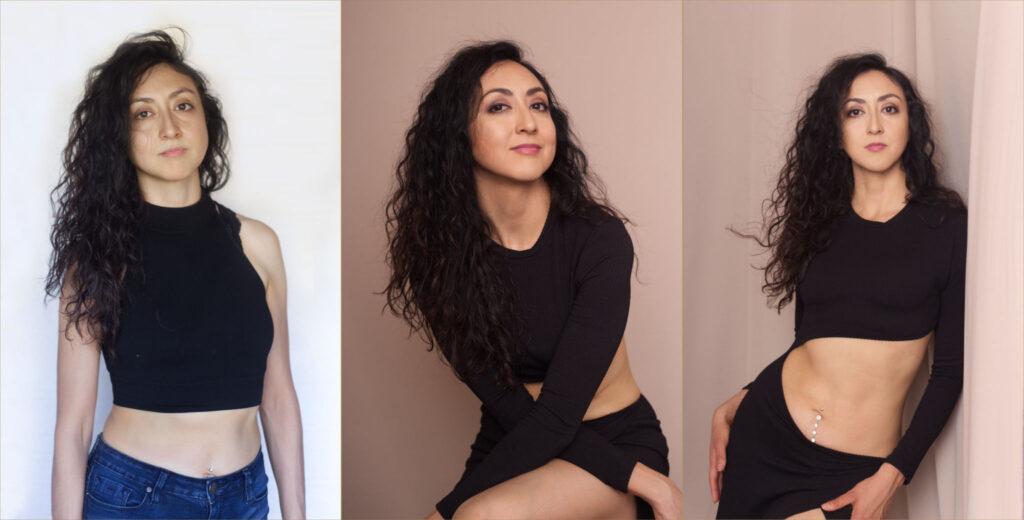 photos showing same day photoshoot transformation of latino dark haired woman